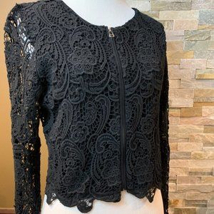 LILI'S CLOSET Anthropologie Lace Lined Crop Jacket